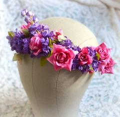 Floral Crown Hot Pink & Purple2 (Bellafaye Garden) Tags: wedding flower floral woodland romantic accessories weddings bridal whimsical headband weddingflowers hairpiece hairaccessories headpiece hairaccessory weddinghair weddinghairaccessories