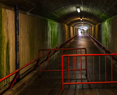 (Svein Nordrum) Tags: roof light shadow stone wall underground subway concrete vanishingpoint construction tunnel passage leading selective distagon romss
