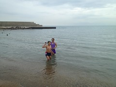 """BELL participants Alex and Faye are excited with the rocks they were finding while swimming at the beach on one of our trips. • <a style=""""font-size:0.8em;"""" href=""""http://www.flickr.com/photos/29389111@N07/9541715437/"""" target=""""_blank"""">View on Flickr</a>"""