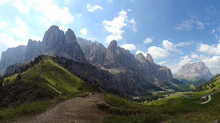 Panorama of the Dolomites Mountains. Sella Group or Sellagruppe. Italy.