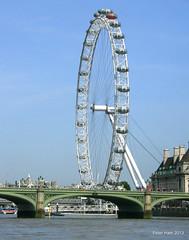 London Bridge and the London Eye (Peter J. Ham) Tags: bridge blue england sky london eye water weather thames river tourists views peterham