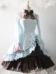 Attractive Blue Brown Satin Classic Womens Lolita Dress