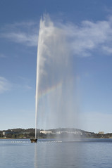 fountain memorial: multiple memories (Seakayem) Tags: lake fountain 35mm rainbow sony canberra f18 slt slowexposure a55 lakeburleygriffen regattapoint captaincookmemorialfountain