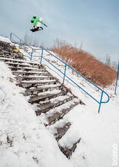 Big One Melon (bakao) Tags: street snow snowboarding big o poland polska double snowboard rails jibbing jib kink stench ruda śląska dytko łamaniec