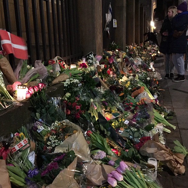 I am COPENHAGEN ✌️  Something I only thought could happen in other parts of the World happened here in COPENHAGEN. My thoughts goes to the victims and their loved ones #cphshooting #prayforcopenhagen #prayforcph #flowers #prayers #candles