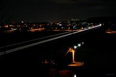 Donau railway bridge at night (Frhtau) Tags: city bridge night train germany bayern bavaria view zug sight fluss freight donau gter