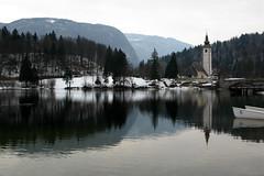 Lake Bohinj (tamasmatusik) Tags: bohinj slovenia szlovénia bohinjskojezero lakebohinj bohinjitó wocheinersee wochein bled g9 triglav reflections lake water winter snow canon landscape reflection symmetry