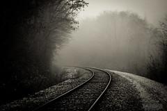 Beyond the curve (ElmerstarK) Tags: france fog rail railway bourgogne brouillard chemindefer villerslespots