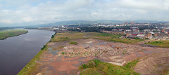 When this were all shipyards (beqi) Tags: panorama history clyde decay glasgow demolition aerial shipyard 2012 photoshoppery clydebank