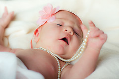 Gran's Pearls (H McCann) Tags: new pink baby soft pearls audrey newborn bebe delicate bambino