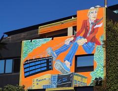 'The Mover' by Gabriel Heimler and Anna Proc (boeckli) Tags: mural wellington newzealand gabrielheimler annaproc museumarthotel wandbemalung bunt building farbenfroh catchycolours colourful colours wallpainting dwwg wow smileonsaturday vividorange