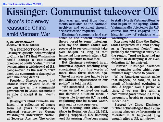 KISSINGER: Communist Takeover OK  - The Free Lance-Star - May 27, 2006