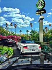 So L.A. (John Jardin) Tags: california blue sky sunlight cars coffee clouds palms landscape outdoors losangeles exterior view sunny starbucks vista drivethrough