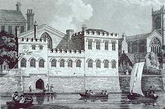 engraving of Guildhall and St Martin-le-Grand church, York (Hipster Bookfairy) Tags: church architecture town townscape