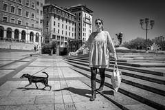 Go Your Own Way... (YVON B) Tags: street dog monochrome lady landscape blackwhite fuji lyon candide xpro2