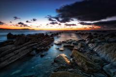 Meakoz (Tudel2008) Tags: blue sunset sky beach atardecer playa puestadesol bizkaia barrika meakoz