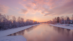 Winter Scene (samiKoo) Tags: longexposure winter cold ice clouds sunrise canon finland river colours 6d 24105mml