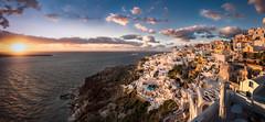 Oia Sunset (hpd-fotografy) Tags: light sunset sea sky panorama sun seascape water landscape europe aegean hellas santorini greece caldera oia goldenhour