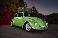 1968 VW Beetle ([Nocturne]) Tags: nightphotography lightpainting green bulb vw canon vintage bug volkswagen lowlight beetle automotive oldschool 1968 lime suitcase oldskool nocturne patina vwbeetle dubs lovebug roofrack veedubs noctography 5dmkii