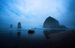 Cannon Beach (ArriveDepart) Tags: blue usa beach nature rock oregon america landscape coast gloomy pacific northwest united north scenic overcast haystack states cannonbeach alexgreen bestviewedlargecom