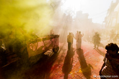 Yellow Fog (Jakob Kolar) Tags: street travel light sun india water colors yellow festival asia colours religion celebration dust hindu indien colorfestival mathura holifestival uttarpradesh festivalofcolours