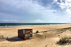 Springtime At The Sea [in Explore] (derNubo) Tags: sunlight beach portugal sunshine bar coast sand europe closed empty dune lonely algarve atlanticocean mantarota