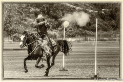 -20160612Polo86-Edit (Laurie2123) Tags: pps pacificphotographicsociety polo sandiegopoloclub gun horses 52weeksof2016 cowboy vintage horse shooting monotone blackandwhite bnw