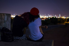 Somewhere only we know (Valria Dantas) Tags: night sisters 50mm lights town nikon bokeh lih d5100