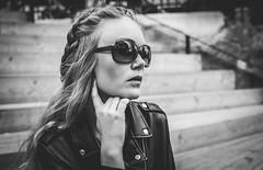 Karoline Davidsson (PhotographerJockeFransson) Tags: bw white black reflection leather glasses photos n