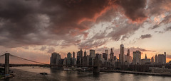 Downtown disneyed (Several seconds) Tags: sunsetdowntownmanhattan redsky bridge river newyork offices