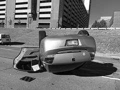 Upside down (#KPbIM) Tags: morning summer car june accident michigan detroit down freeway saturn 75 i75 upside careless 2016