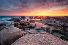 Setting in the bay (Deanvdw) Tags: ocean africa travel sunset seascape tourism rock bay town rocks warm waves south pools western cape camps 500px ifttt