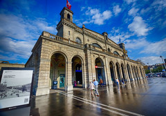 Central Train Station in Zurich, Switzerland (` Toshio ') Tags: people building architecture clouds switzerland europe european zurich trainstation zrichhauptbahnhof toshio centraltrainstation xe2 fujixe2