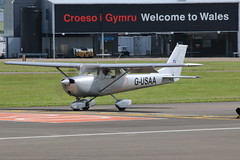 G-USAA. (aitch tee) Tags: aircraft generalaviation walesuk cardiffairport reimscessna f150g gusaa maesawyrcaerdydd cwlegff