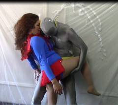 AtomicGirl and QuickSilver (Spandxcomics) Tags: stuck cosplay tights superhero cape supergirl spandex superheroine