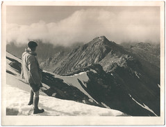 Uncle Reg? on Striding Edge? (pualv) Tags: landscape mountains snow bw blackandwhite antique 1950s man hiking
