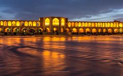 The oldest Bridge of Isfahan named Khaju Bridge (ciwi.photography) Tags: longexposure bridge water lights iran romantic bluehour isfahan khajubridge