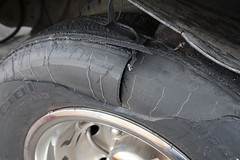 Tire Jihad (twm1340) Tags: light ford truck failure tire 1999 commercial chassis blowout rv tread motorhome lt v10 triton blown separation dutchmen bfgoodrich econoline e450