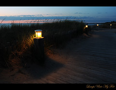 Lamps Unto My Feet (Poocher7) Tags: light sunset lake ontario canada grass fence evening sand peace darkness dusk path dunes calming direction boardwalk lamps lovely lakehuron grandbend theway psalm119105 contenment