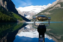 Eye spy (Anne Oldfield) Tags: morning lake canada mountains reflection reflections quiet peaceful glacier alberta lakelouise tranquil