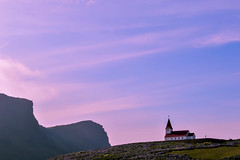 vk (kmccoolio) Tags: iceland nature travel vk church sky manipulation color cliffs sun sunset light architecture landscape