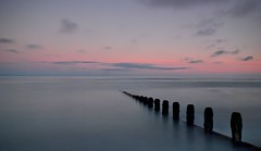 Sixteen.... (hall1705) Tags: longexposure pink sea sky seascape beach water sussex coast seaside outdoor calm structure shore groyne sixteen breakwater goring