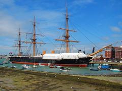 HMS Warrior 1860 (charliejb) Tags: sea water ship historic portsmouth tallship rigging warship 2016 portsmouthharbour hmswarrior ironclad thehard type45destroyer hmsdefender