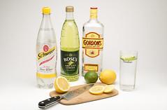 Gin and tonic. (johnhjic) Tags: wood white color colour green colors yellow fruit nikon colours knife drinks lime gin tonic northyorkshire lemmon strobe gintonic elinchrom 2013 strobist johnhjic nikond800e