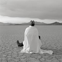 Self, Black Rock Desert, Nevada (austin granger) Tags: film self square solitude king space nevada kingdom playa dirt empire crown sheet nothing plain emptiness ambition blackrockdesert quietude gf670 austingranger