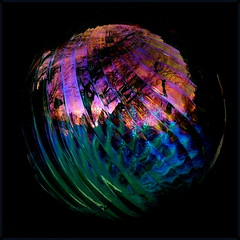 metamorphosis (milomingo) Tags: glass gazingball swirl multicolored trippin sunset reflection refraction abstract round globe sphere onblack vivid blackbackground vibrant bright bold square light dark contrast texture bej