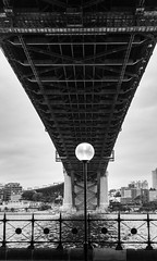 Geometry in B&W (mraadsen) Tags: bridge bw point lowlight geometry sydney lamppost nsw newsouthwales harbourbridge highiso dawes canonef50mmf18ii canon6d