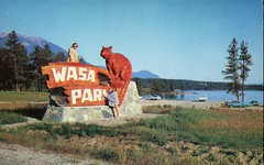 "Wasa Lake Park, ""A Real Fun Place"", Fort Steel BC (SwellMap) Tags: road signs monument public sign vintage advertising design 60s highway gate arch fifties message postcard suburbia entrance style kitsch retro billboard route nostalgia chrome freeway gateway billboards americana 50s lettering welcome roadside populuxe sixties babyboomer consumer coldwar midcentury spaceage atomicage archwaypc"