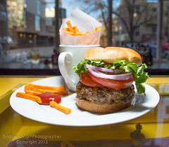 Juicy Cheeseburger With Sweet Potato Fries (Bridget Calip) Tags: food vegetables juicy colorado unitedstates ketchup tomatoes denver eat cheeseburger sweetpotatoes sweetpotatofries redonions 2013 bridgetcalip stirtolearnschool