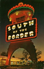 Pedro's Spectacular 100 Foot Tall Sign, South of the Border, SC (SwellMap) Tags: road signs monument public sign vintage advertising design 60s highway gate arch fifties message postcard suburbia entrance style kitsch retro billboard route nostalgia chrome freeway gateway billboards americana 50s lettering welcome roadside populuxe sixties babyboomer consumer coldwar midcentury spaceage atomicage archwaypc